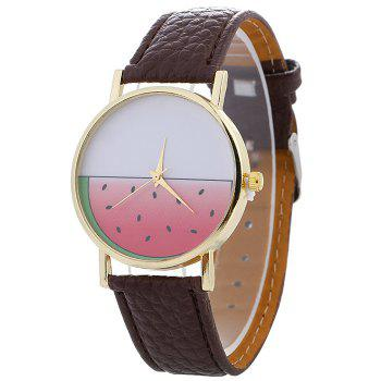 Watermelon Face Faux Leather Watch