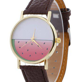Watermelon Face Faux Leather Watch -  BROWN