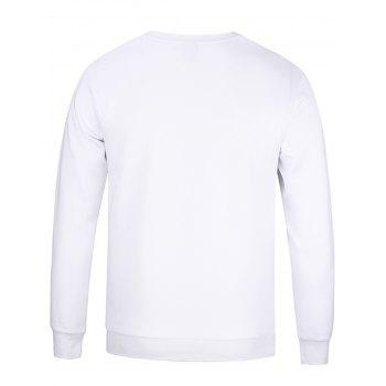 Spider Web Graphic Print Long Sleeve Sweatshirt - WHITE WHITE