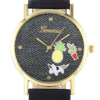Cartoon Faux Leather Quartz Watch -  BLACK