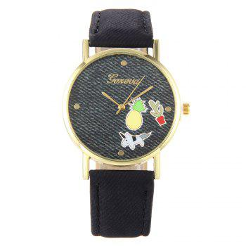 Cartoon Faux Leather Quartz Watch - BLACK BLACK
