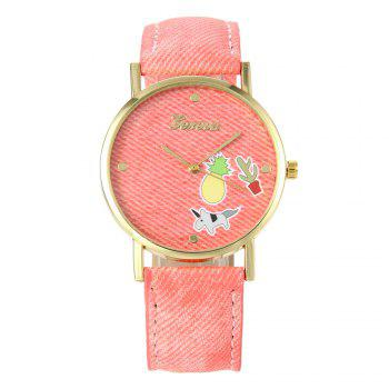 Cartoon Faux Leather Quartz Watch - PINK PINK