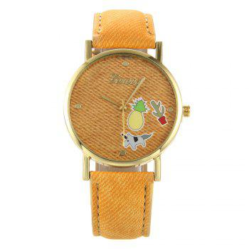 Cartoon Faux Leather Quartz Watch - LIGHT BROWN LIGHT BROWN