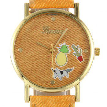 Cartoon Faux Leather Quartz Watch -  LIGHT BROWN