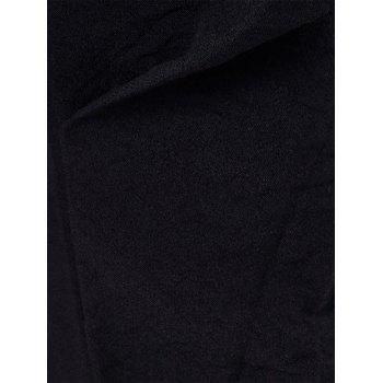 Drawstring Beam Feet Cotton Blends Jogger Pants - BLACK BLACK
