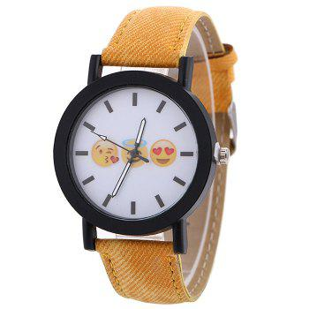 Emoticon Face Faux Leather Strap Watch - YELLOW YELLOW