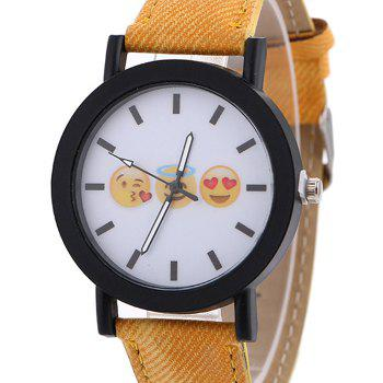Emoticon Face Faux Leather Strap Watch -  YELLOW