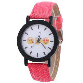 Emoticon Face Faux Leather Strap Watch - RED RED