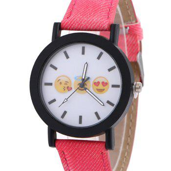 Emoticon Face Faux Leather Strap Watch -  RED