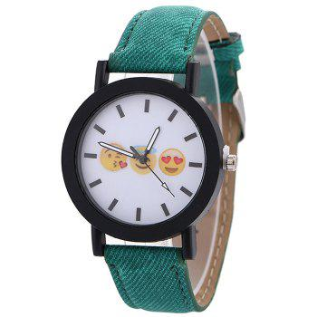 Emoticon Face Faux Leather Strap Watch - GREEN GREEN