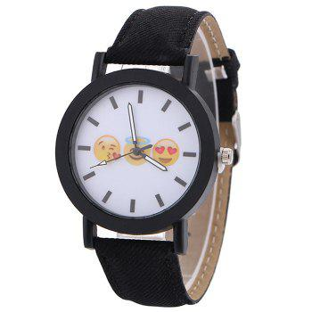 Emoticon Face Faux Leather Strap Watch - BLACK BLACK