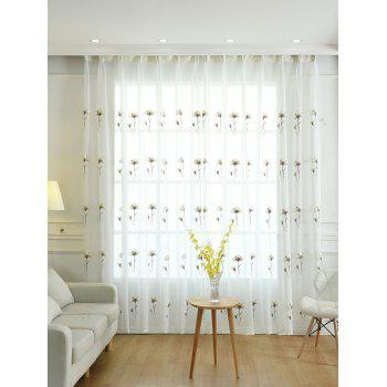 Flower Embroidery Sheer Tulle Window Curtain - WHITE W42INCH * L63INCH