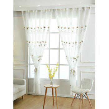 Flower Embroidery Sheer Tulle Window Curtain - WHITE W42INCH * L95INCH