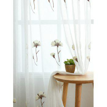 Flower Embroidery Sheer Tulle Window Curtain - W42INCH * L95INCH W42INCH * L95INCH