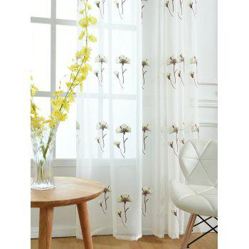 Flower Embroidery Sheer Tulle Window Curtain - WHITE W54INCH * L84INCH
