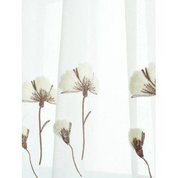 Flower Embroidery Sheer Tulle Window Curtain - W54INCH * L108INCH W54INCH * L108INCH