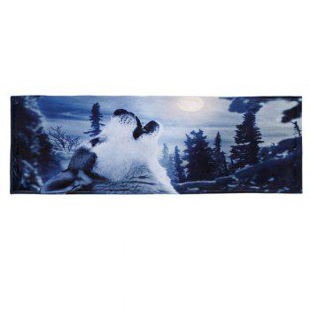 Coral Fleece Snow Wolf Water Absorbent Floor Mat - MIDNIGHT W24 INCH * L71 INCH