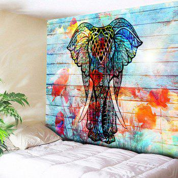 Elephant Print Wall Hanging Wood Grain Tapestry - COLORFUL W59 INCH * L79 INCH