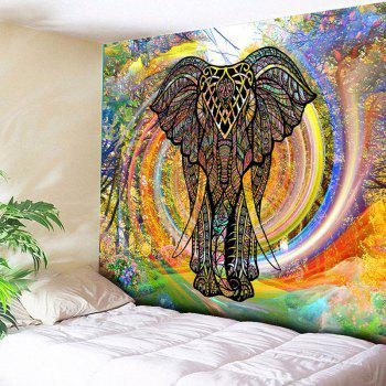 Wall Hanging Whirlwind Rainbow Elephant Tapestry