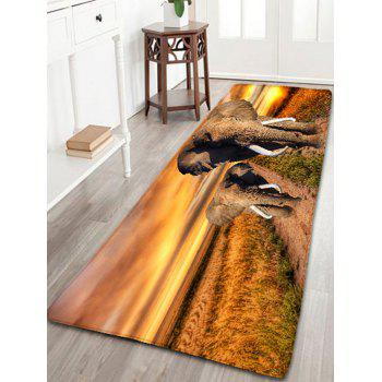 Bathroom Skidproof Elephants Print Flannel Rug