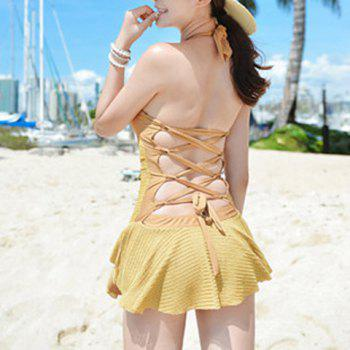 Sexy Halterneck Backless Drawstring Ruffled Lace One-Piece Women's Swimwear - M M