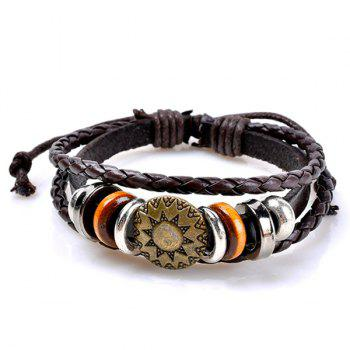 Sun Pattern Circles Embelished Layer Retro Bracelet - COFFEE COFFEE
