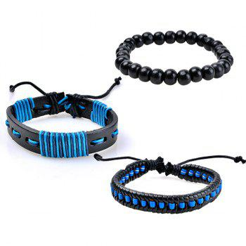 Beaded Woven Artificial Leather Friendship Bracelets -  BLUE
