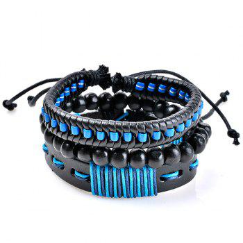 Beaded Woven Artificial Leather Friendship Bracelets - BLUE BLUE