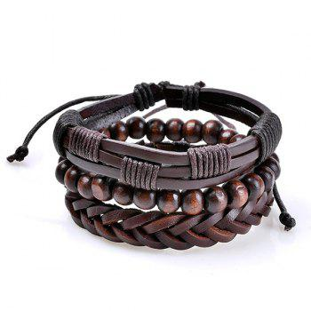 Woven Artificial Leather Beaded Friendship Bracelets Set - COFFEE COFFEE