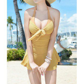Sexy Halterneck Backless Drawstring Ruffled Lace One-Piece Women's Swimwear - GINGER L