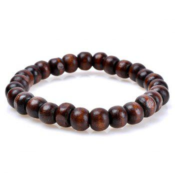 Woven Artificial Leather Beaded Friendship Bracelets Set -  COFFEE