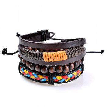 Multicolor Woven Faux Leather Beaded Friendship Bracelets - COLORMIX COLORMIX