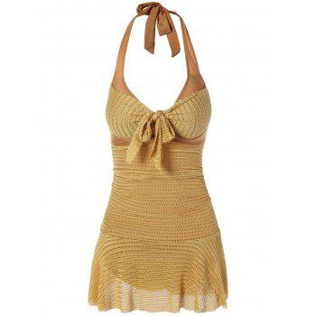 Sexy Halterneck Backless Drawstring Ruffled Lace One-Piece Women's Swimwear - XL XL