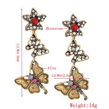 Rhinestone Butterfly Flower Vintage Dangle Earrings - GOLDEN