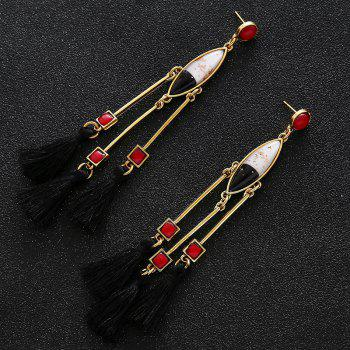 Faux Gem Bar Tassel Geometric Earrings - RED
