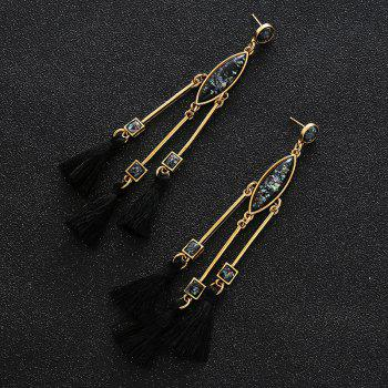Faux Gem Bar Tassel Geometric Earrings -  GOLDEN