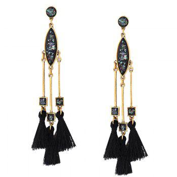 Faux Gem Bar Tassel Geometric Earrings - GOLDEN GOLDEN