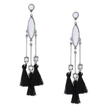 Faux Gem Bar Tassel Geometric Earrings - SILVER SILVER