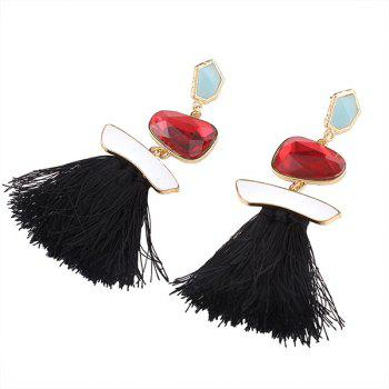 Faux Gem Tassel Irregular Earrings - BLACK