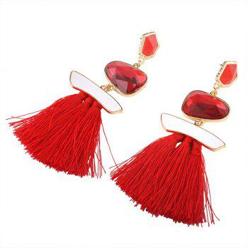 Faux Gem Tassel Irregular Earrings - RED