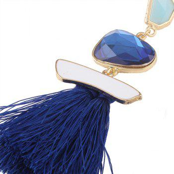 Faux Gem Tassel Irregular Earrings - BLUE