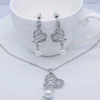 Rhinestoned Faux Pearl Butterfly Jewelry Set -  SILVER
