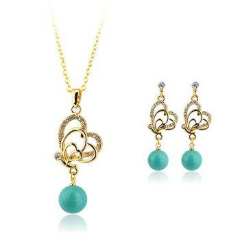 Rhinestoned Faux Pearl Butterfly Jewelry Set - BLUE BLUE
