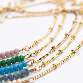 Collarbone Beaded Chain Necklace -  BLUE