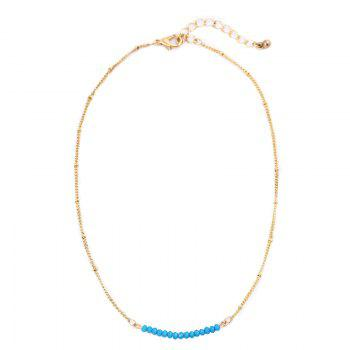 Collarbone Beaded Chain Necklace - BLUE BLUE