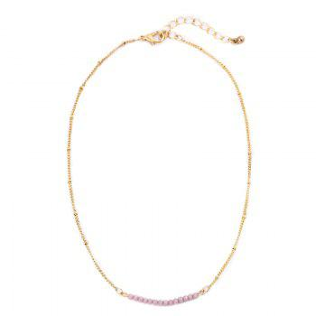 Collarbone Beaded Chain Necklace - PINK PINK