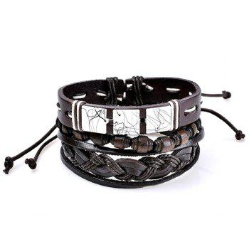 Layered Artificial Leather Woven Friendship Bracelets - COFFEE COFFEE