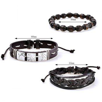 Layered Artificial Leather Woven Friendship Bracelets -  COFFEE