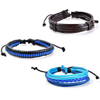 Vintage Beaded Faux Leather Woven Bracelets - BLUE