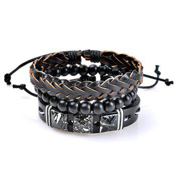 Woven Faux Leather Beads Friendship Bracelets Set - COLORMIX COLORMIX